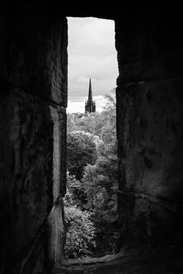 The view from one of the battlements of Edinburgh Castle.