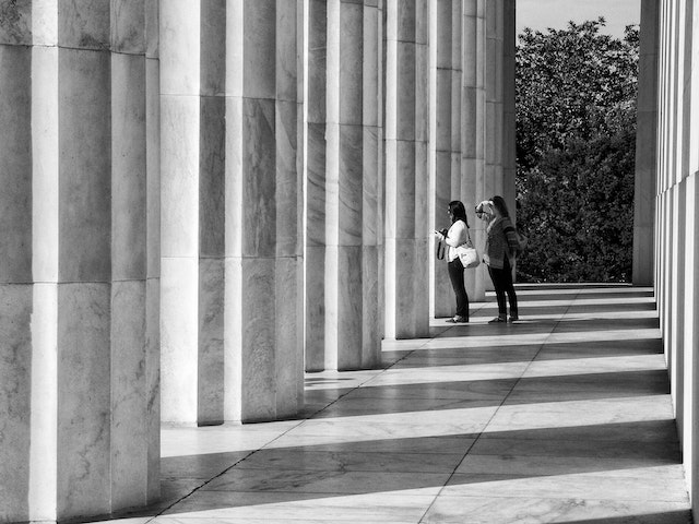 Tourists behind the Lincoln Memorial, Washington, DC.