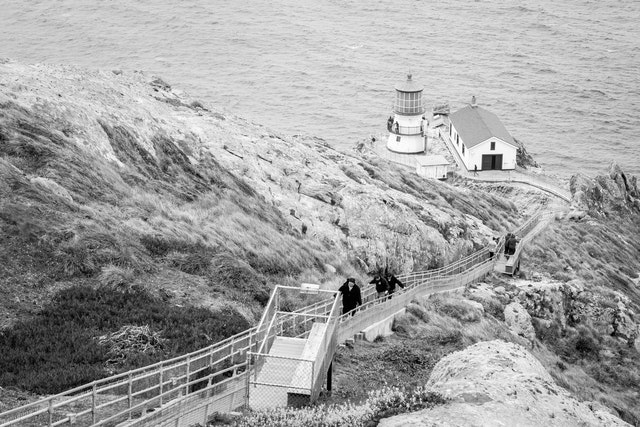 The stairs going down to the Point Reyes Lighthouse.