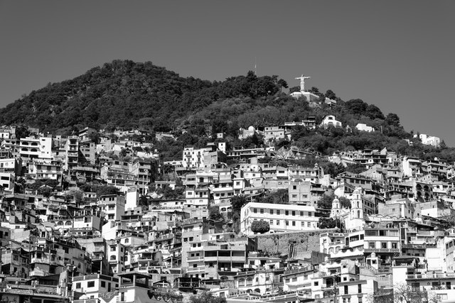 View of Taxco and the statue of Christ at the top of the hill.