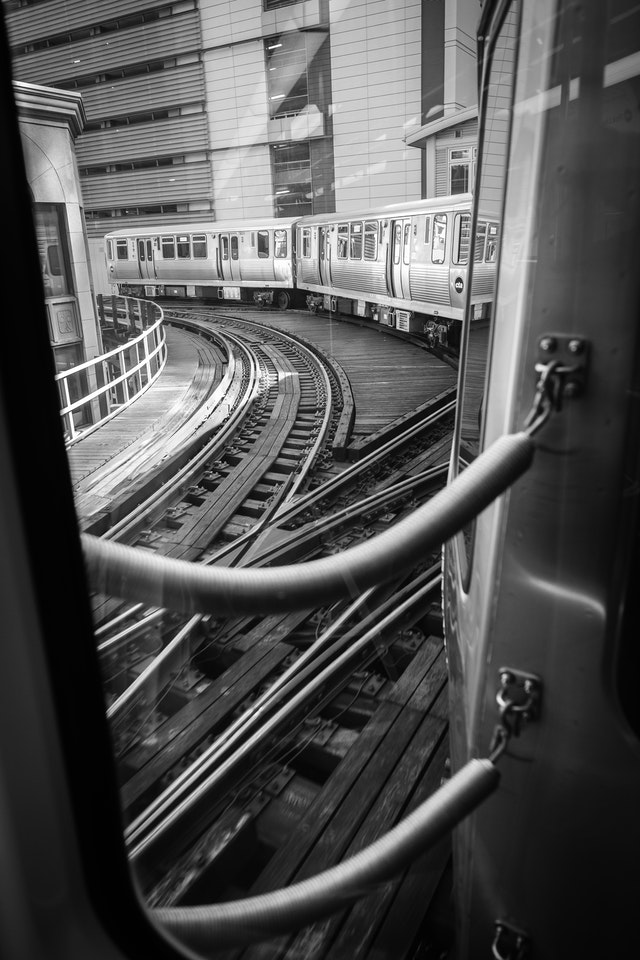View out of the window of an El train.
