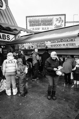 Shoppers at the Maine Avenue Fish Market in Washington, DC.