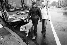 A couple walking a cute golden retriever on a snowy day in Capitol Hill.