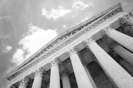 The columns and pediment of the Supreme Court building in Washington, DC.