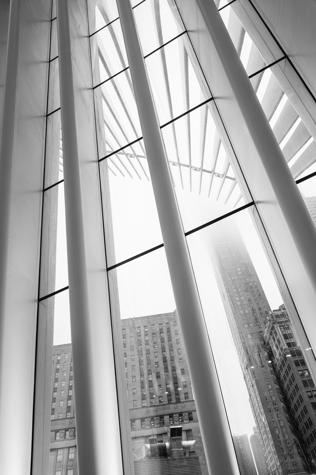 Rain running down the glass of the Oculus in New York City.