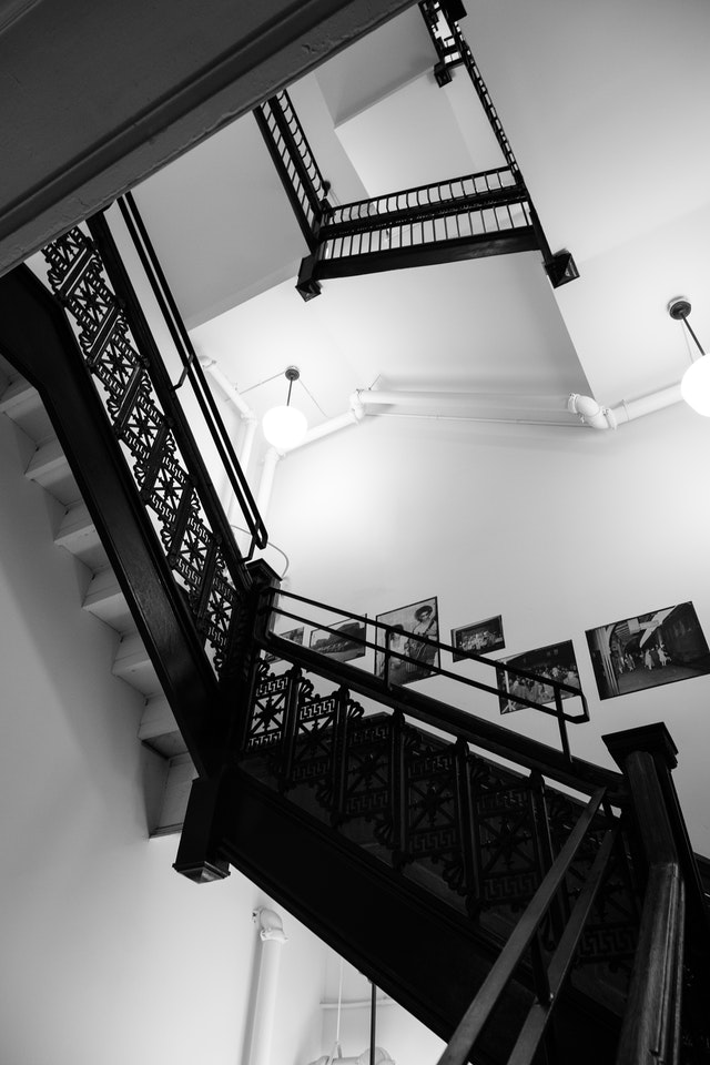 Looking up at a stairwell at the Ace Hotel in Pittsburgh.