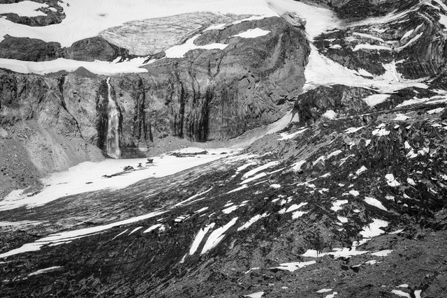 Glaciers and a waterfall on Wilson Gully in Mount Rainier National Park.