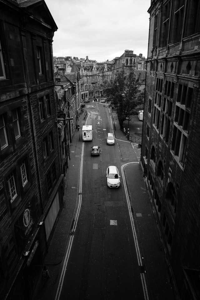 View of the Cowgate from the George IV Bridge.