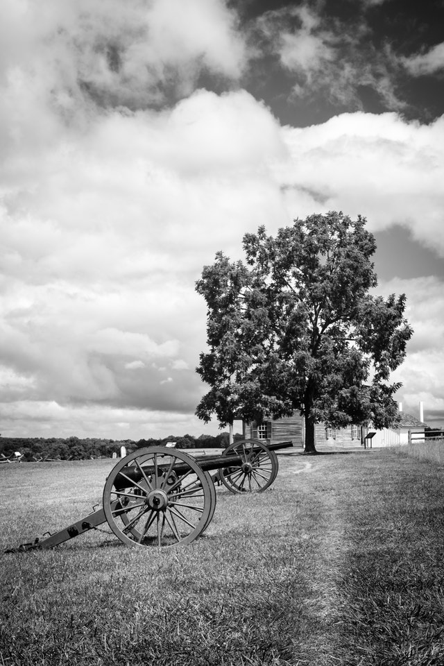 Artillery pieces lined up at Manassas National Battlefield in Virginia.