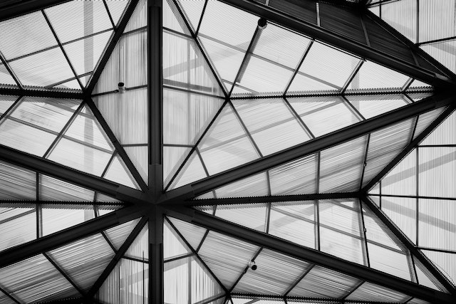 Geometric shapes on the glass roof of the National Gallery of Art, East Building.