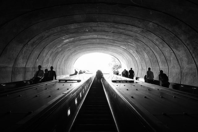 The view up the escalator exiting the Q street exit of Dupont Circle Metro Station.