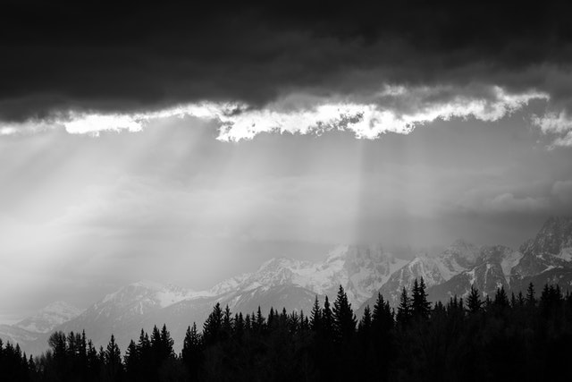 The Teton Range behind a line of trees, as crepuscular rays shine on them.