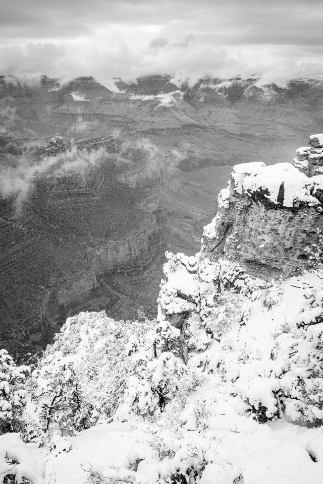 The Grand Canyon, seen from the South Rim at Grand Canyon Village. In the foreground, snow is covering the rim.