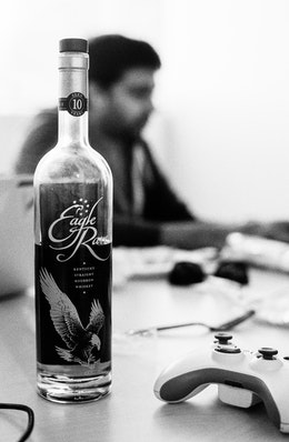 A bottle of Eagle Rare bourbon.