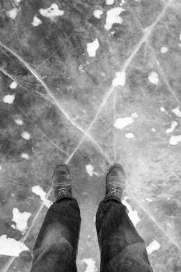 My feet on the ice of the frozen Capitol Reflecting Pool.