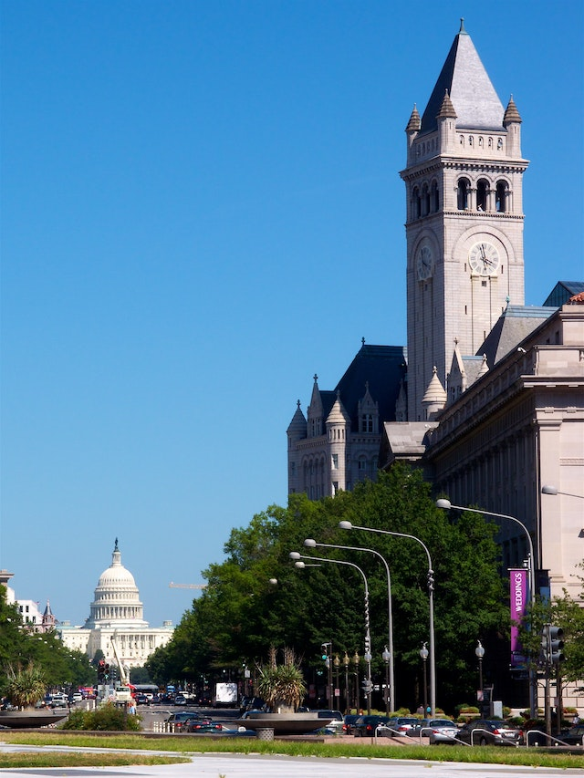 The Old Post Office and the United States Capitol, on Pennsylvania Ave. in Washington, DC.