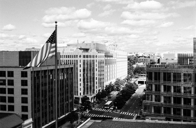 Dupont Circle and an American flag, seen from the Vox Media office.