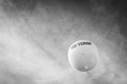 A balloon with the logo of The Verge.