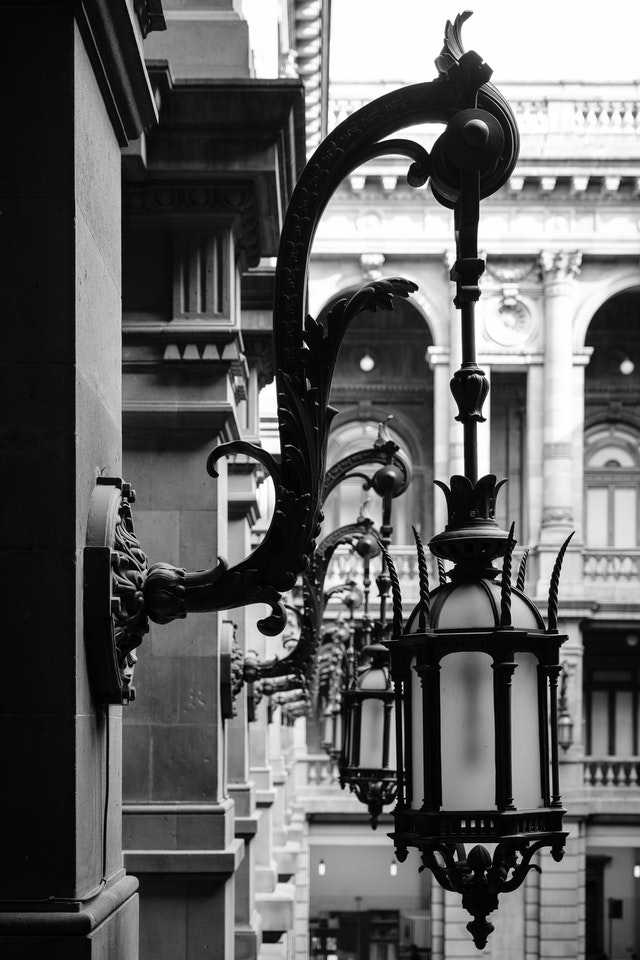 Lamps on the interior courtyard of the National Museum of Art.