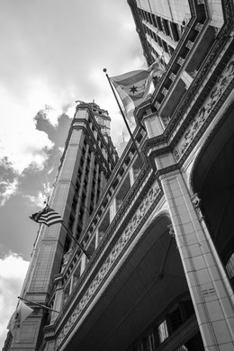 Looking up at the Wrigley Building in Chicago, from street leve.
