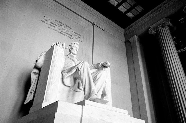 The statue of Abraham Lincoln at the Lincoln Memorial.