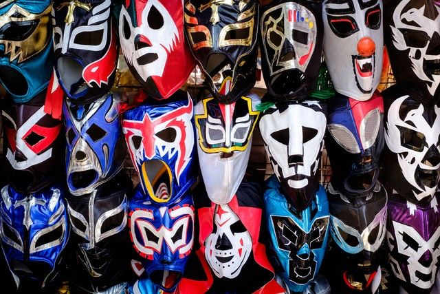 Luchador masks for sale at the Chapultepec Forest.