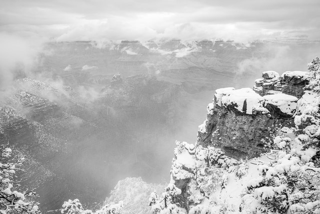 The Grand Canyon, seen from the South Rim at Grand Canyon Village during a snowstorm.