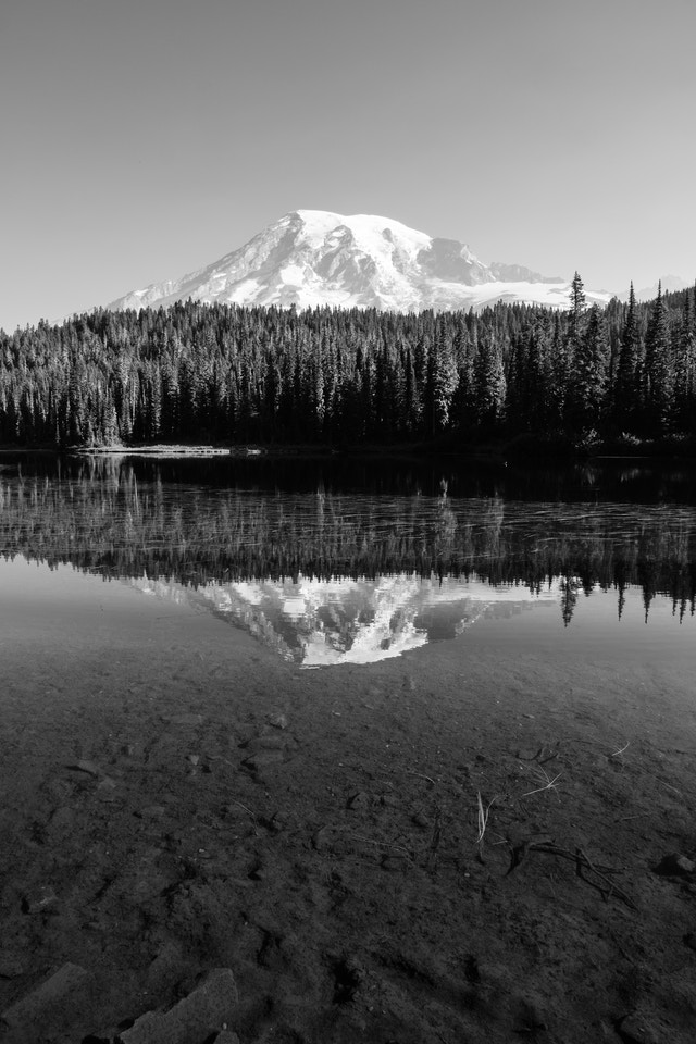 Mount Rainier, reflected off the surface of the Reflection Lakes in Mount Rainier National Park.