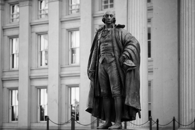 Statue of Albert Gallatin at the Department of the Treasury.
