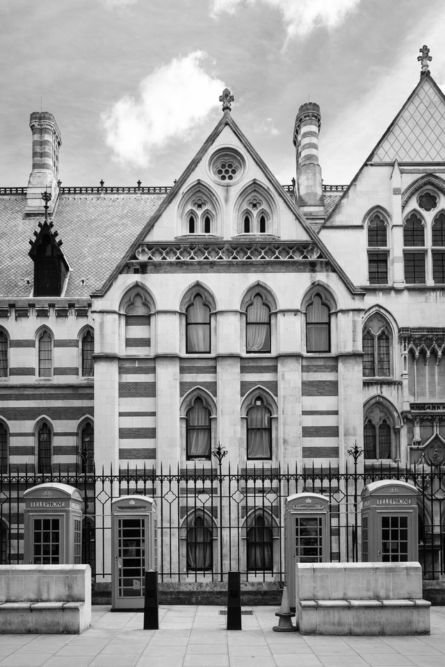 The back of the Royal Courts of Justice building.