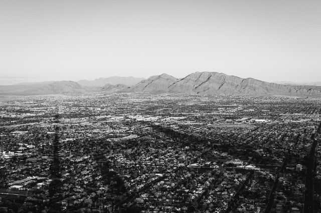 The view of Sunrise and Frenchman mountains to the east of Las Vegas, seen from the top of the Stratosphere Hotel.