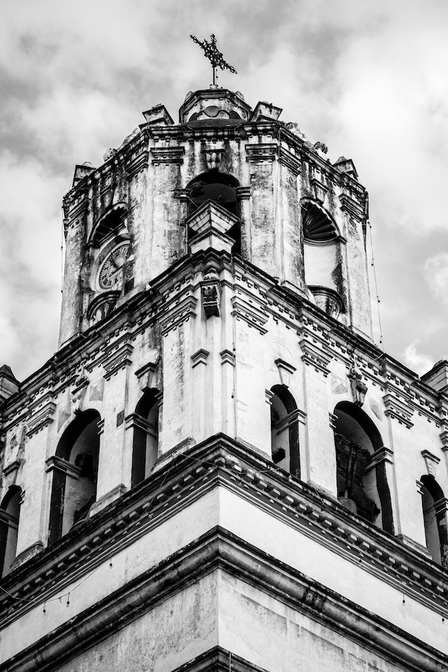 The bell tower of the San Juan Bautista church in Coyoacán.