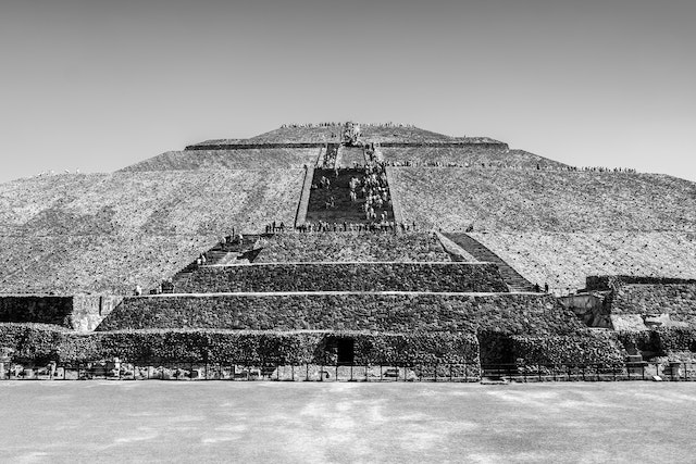 The Pyramid of the Sun in Teotihuacán.