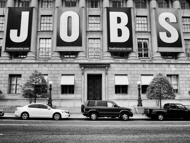 A huge JOBS sign at the United States Chamber of Commerce, Washington, DC.