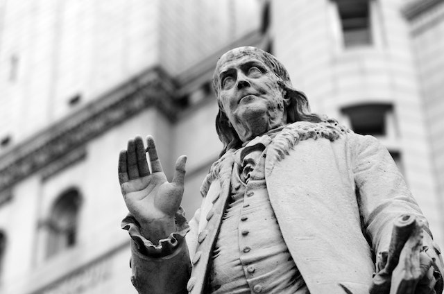 Statue of Ben Franklin at the Old Post Office.