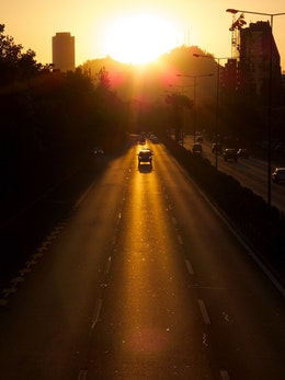 Sunset on the Costanera Norte highway, in Santiago, Chile.