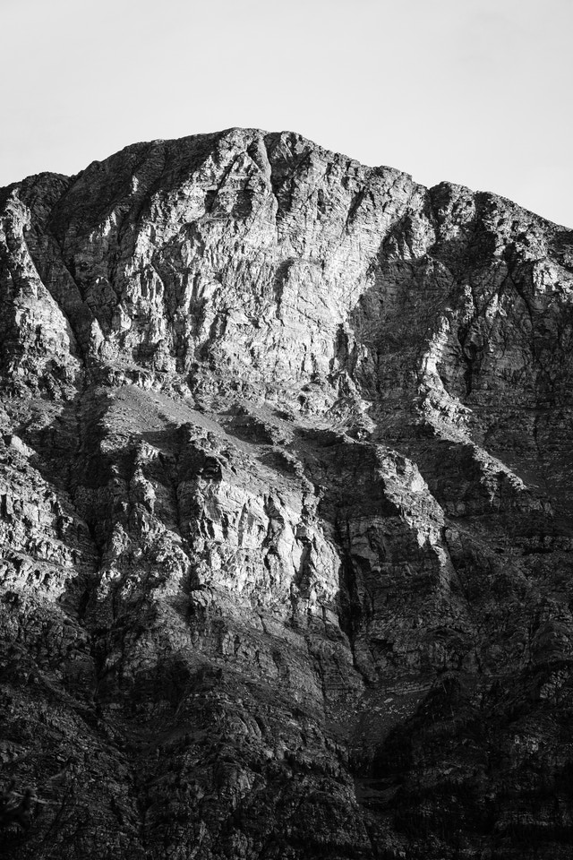 Detail of the texture of the mountains on the east side of St. Mary Lake, side-lit by the setting sun.