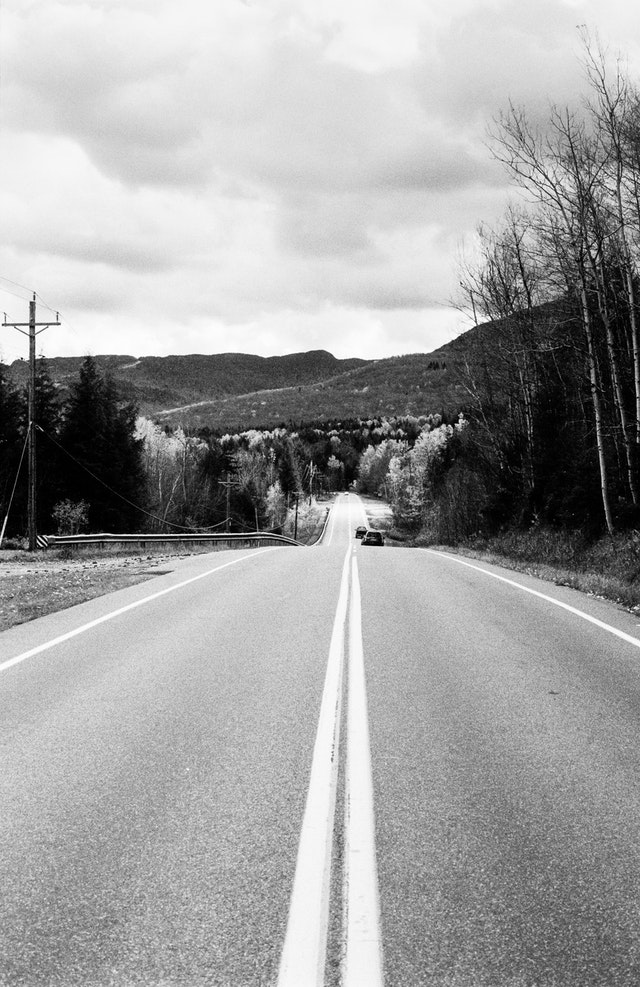 A lonely road somewhere in Vermont.