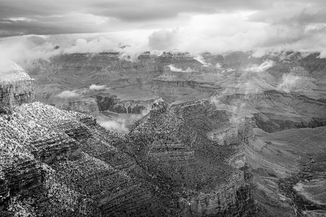 The Grand Canyon, seen from the South Rim at Grand Canyon Village while a snowstorm clears.
