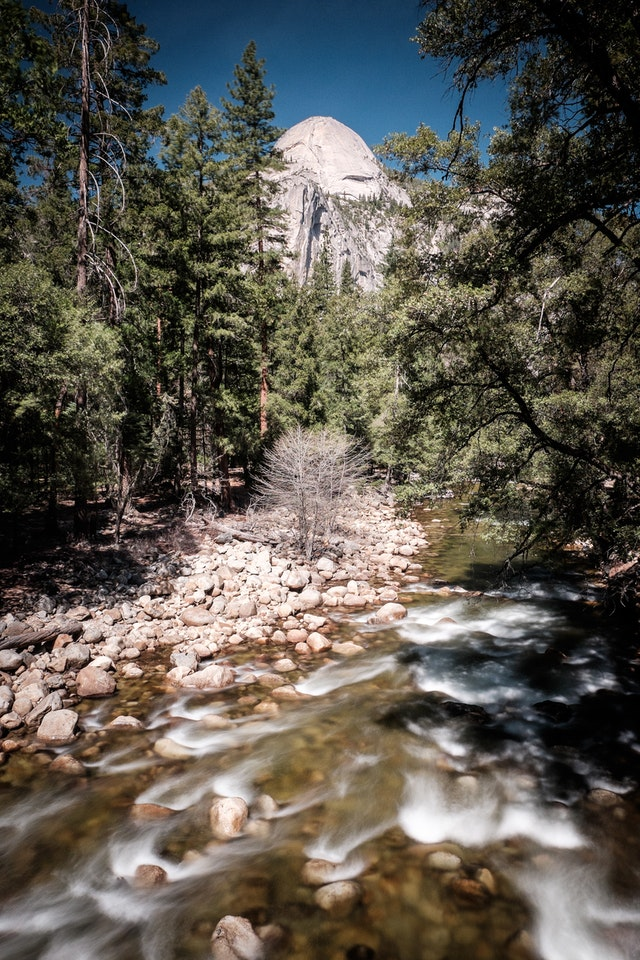 The Merced River at Yosemite National Park, with Half Dome in the background.