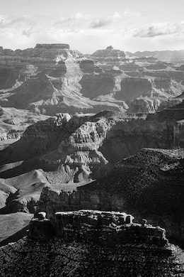 The North Rim of the Grand Canyon, seen from Hopi Point. The Battleship can be seen at the bottom of the frame.