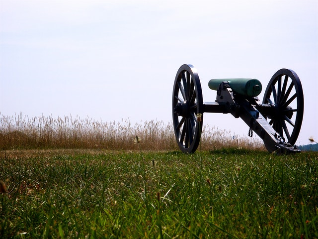 An artillery piece on Confederate lines at Gettysburg National Military Park.