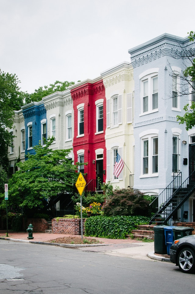 Colorful row houses in Capitol Hill, Washington, DC.