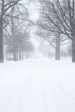 Pennsylvania Avenue SE completely covered in snow.