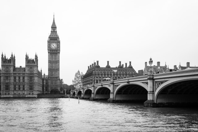 The Palace of Westminster and the Westminster Bridge.