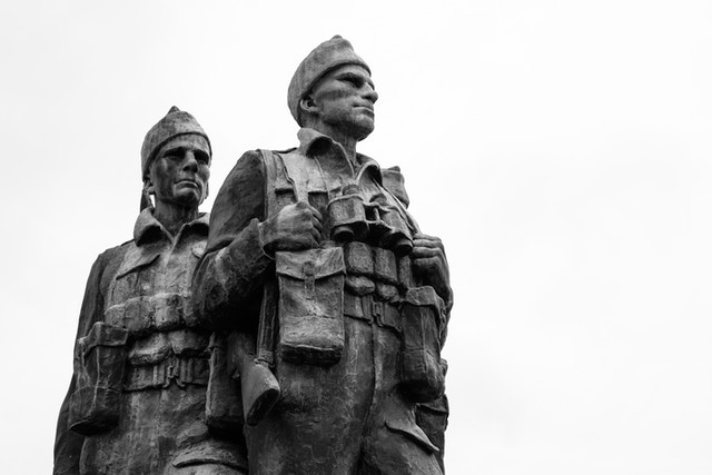 The statue at the Commando Memorial in Scotland.