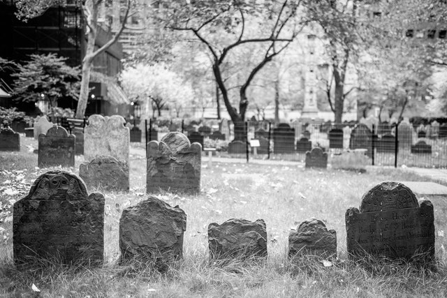 Old tombstones on the Trinity Church cemetery in Manhattan.