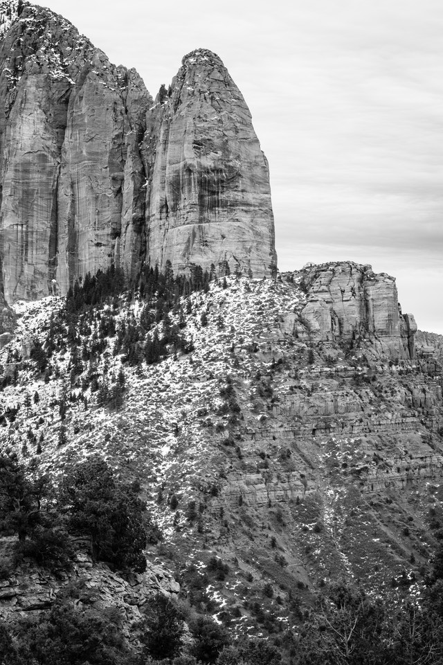 Shuntavi Butte, partially covered in snow, at Kolob Canyons.