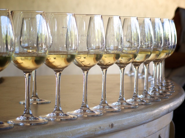 Glasses of sauvignon blanc during a tour of the Concha y Toro vineyards in Santiago, Chile.