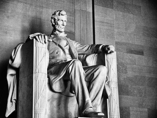 Abraham Lincoln at the Lincoln Memorial,.